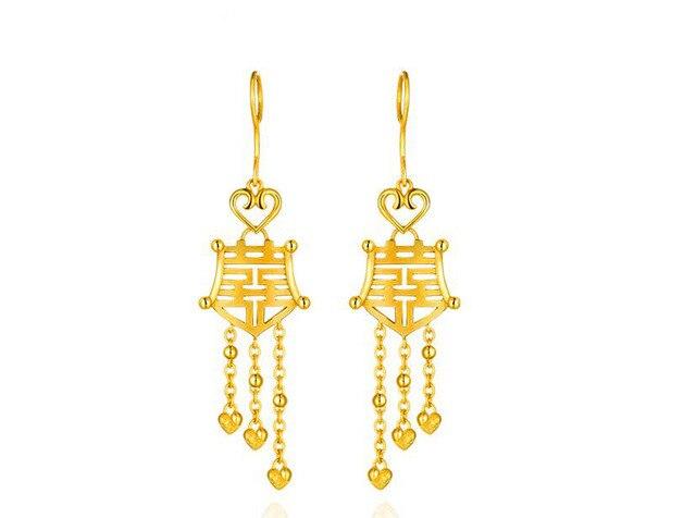 Pure 24K Yellow gold Dangle Earrings Wedding Earrings 9.73g