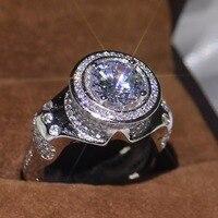 Виктория роскошные сверкающие украшения круглый прозрачный 5A кубического циркония стерлингового серебра 925 вечерние свадебные Для мужчин