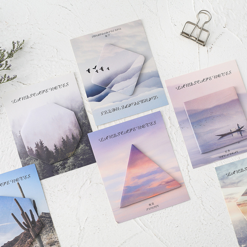 30 Sheets/pad Natural Forest Mountain Memo Pad Planner Stickers Sticky Notes Kawaii Stationery Label Note Pad Office Decoration