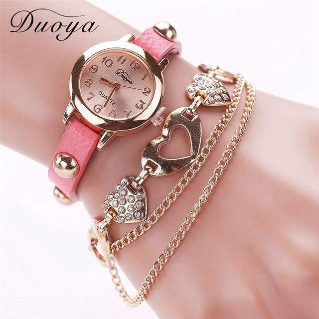 Duoya Luxury Watch Women Fashion Love Luxury Chain Pendant Rose Bracelet Wristwatch Women Dress Quartz Hour Popular Brand Watch