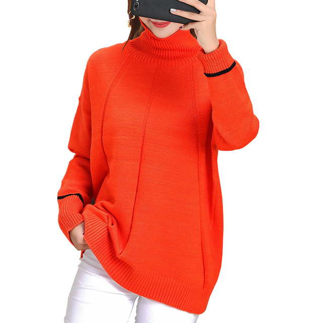 Autumn and winter cashmere sweater female lazy loose short high collar pullover wool sweater large size