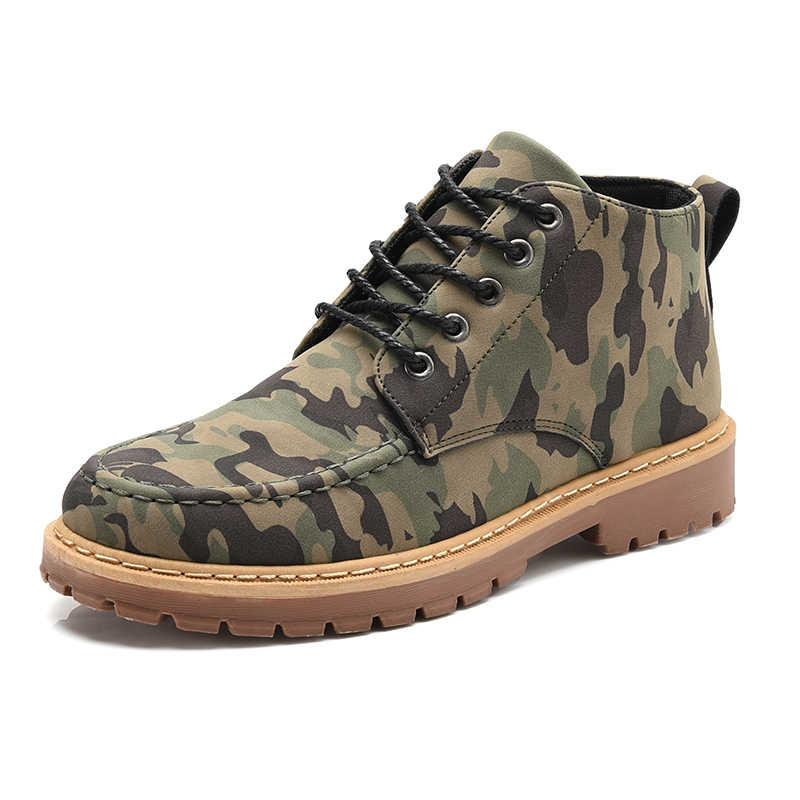 VESONAL/2019 г.; осенние камуфляжные кожаные ботильоны в байкерском стиле; Мужская обувь; уличная мужская повседневная Рабочая сетка для предметов; обувь