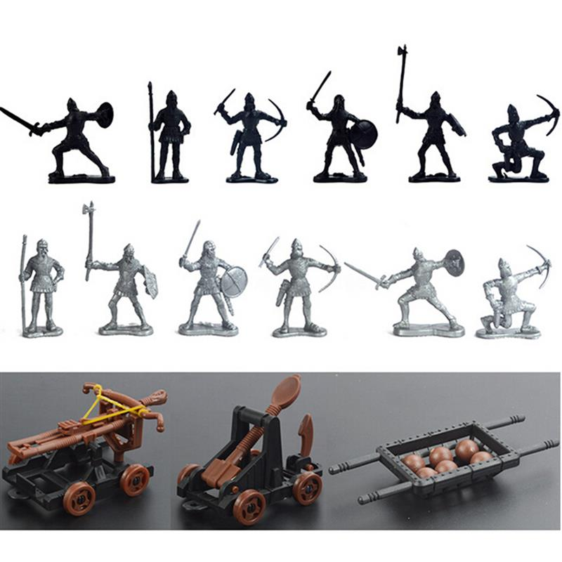 JIMITU 14 Pcs Medieval Knights Toy Catapult Crossbow Soldiers Figures Play Set Plastic Model Action Toys Gift For Children Adult