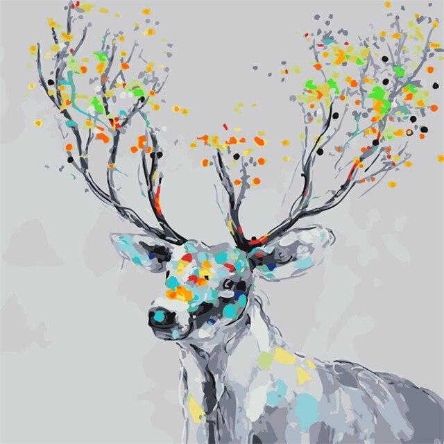 Frameless el Color deer 1 Animal pintura por números Kits coloración ...