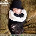 Ins Designer Casual Gentlema Newborn Toddler Infant Baby Boys Knitting Sleeping Bag Photography Prop Winter Beanies Hat 2pcs