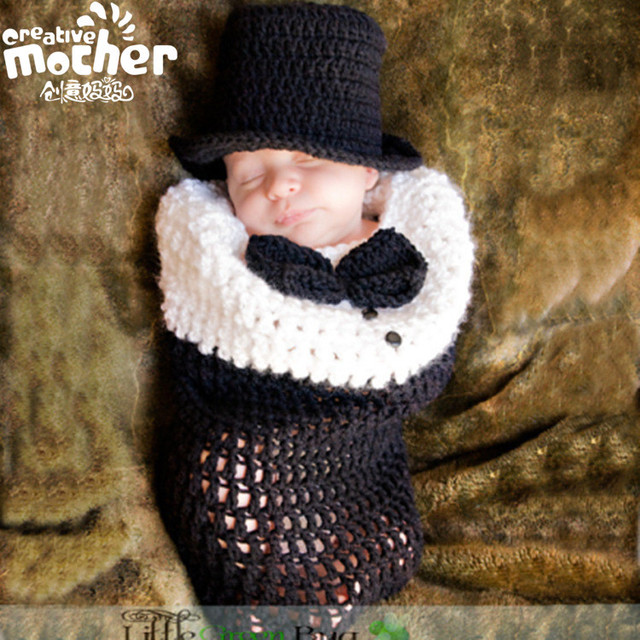 Ins Designer Casual Gentlema Newborn Toddler Infant Baby Boys Knitting Sleeping Bag Photography Prop Winter Beanies Hat 2pcs