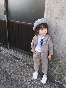 Image 2 - Spring Autumn Kids Blazer for Girls Casual Plaid Shirts Jacket Pants Toddler Girls Suits 2 3 4 5 6 Years Toddler Baby Clothing