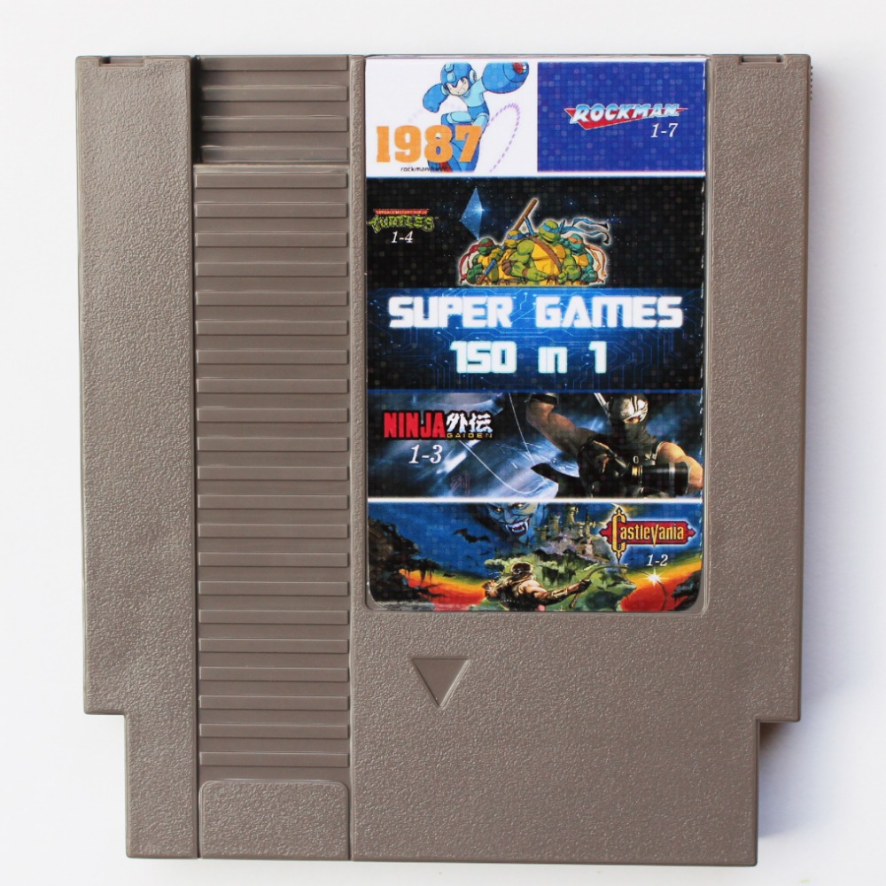 72Pin 8 bit Game Cartridge <font><b>150</b></font> <font><b>in</b></font> <font><b>1</b></font> Grey Shell with Rockman <font><b>1</b></font> 2 3 4 5 6, NINJA TURTLES, Contra, Kirby's Adventure Battery Save image