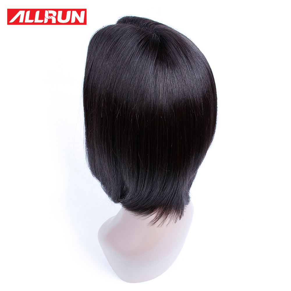 ALLRUN Indian Short Bob Lace Front Wigs Middle Part With Baby Hair Human Hair Natural Color Wig Non-remy Straight Hair