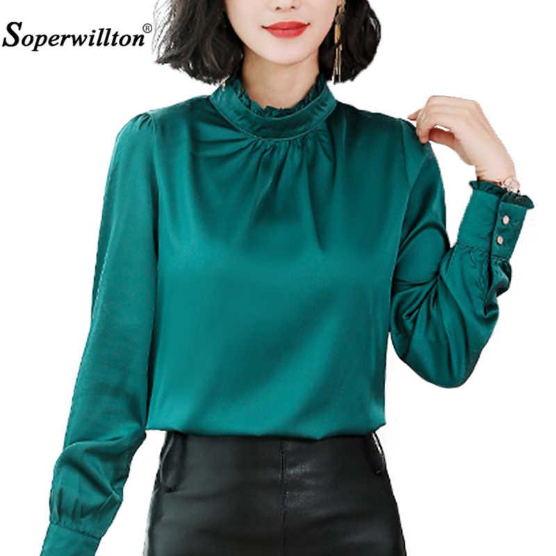 2b560ba3b9327c Blouse Women Shirts for Office Lady Work Ladies Tops Shirt O-Neck Long- Sleeve