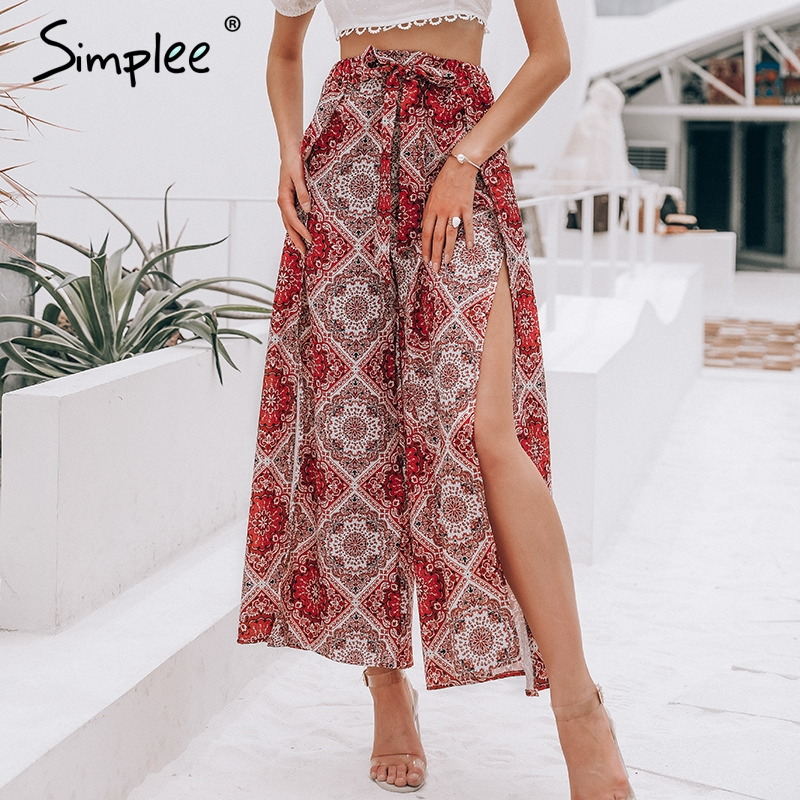 Simplee Sexy print long women summer   pants   High waist sash wide leg split trousers   capris   Boho floral holiday beach female   pants