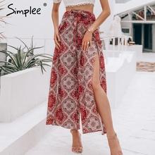 Simplee Sexy print long women summer pants High waist sash wide leg split trousers capris Boho