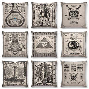 Cushion-Cover Pillow-Case Sword-Shield-Logo Zelda-Link Tarot Time Legend Vintage Princess