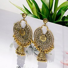 OIQUEI 2019 Bohemia Ethnic Classic Big Bells Long Drop Earrings For Women Round Metal Hollow Indian jhumka Earring Gypsy Jewelry