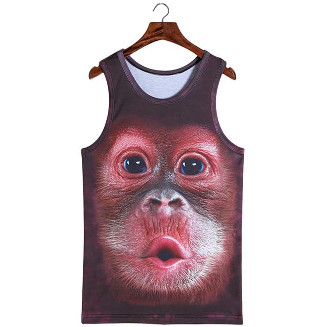 Treino dos homens Vestuário de Moda de Nova Homens Blusa de Leopardo Animal 3D Sem Mangas T Lobo 3D Vest Tatuagem Camisetas Sem Mangas