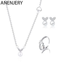 ANENJERY 925 Sterling Silver Jewelry Sets Zircon Love Heart Simulated Pearl Necklace+Earrings+Ring For Women(China)