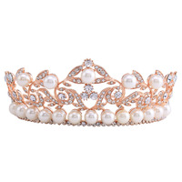 2 3cm High Baroque Crown Tiara Headband Bridal Hair Accessories Rose Gold Plated Jewelry Leaf Crystal