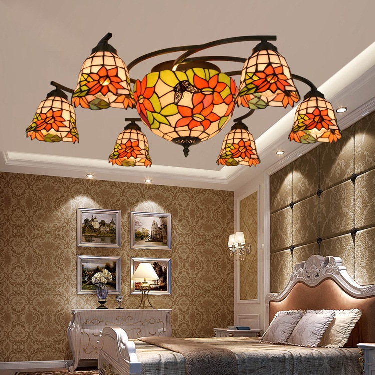 Tiffany red rose flower Stained Glass Suspended Luminaire E27 110-240V Chain Pendant lights for Home Parlor Dining Room