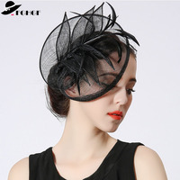 FGHGF Elegant Fancy Fasinators Formal Black Sinamay Women Hat Ladies Headbands Kentuncky Derby Cocktail Party Headpiece Fedoras