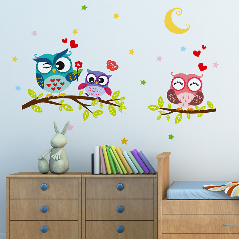 DIY Cartoon Night Owl Wall Sticker Tree Stickers Retro Vintage Poster Wallstickers for Kids Baby Rooms Decoration Decal Mural