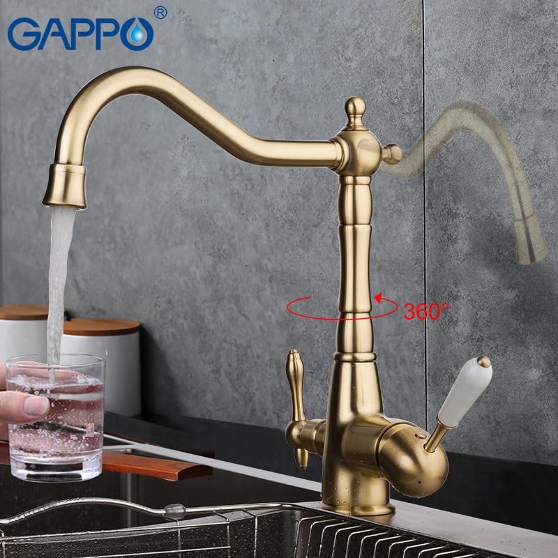 GAPPO filtro de torneira da cozinha de bronze antigo da cozinha torneiras torneiras misturadores de pia de cozinha água da torneira purificada torneira