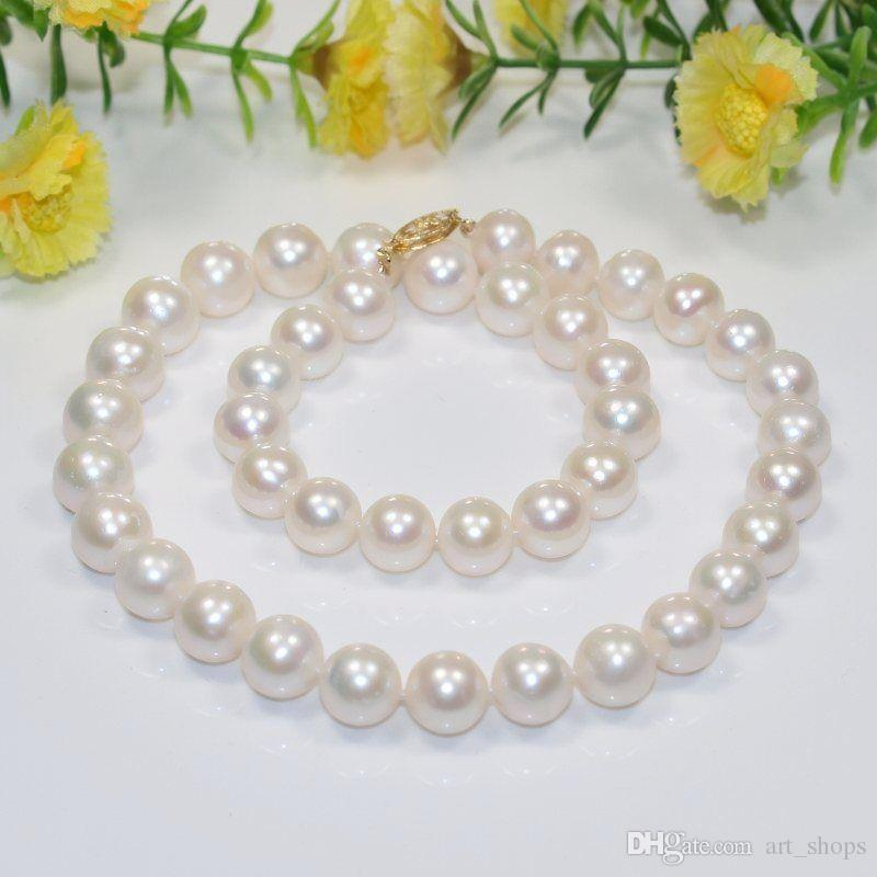 Adaptable Aa 11-12mm White Round Freshwater Cultured Pearl Necklace S150 Agreeable To Taste