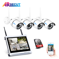 ARSECUT 4CH 12 Inch 960P HD NVR Kit CCTV System Wireless Security Camera System IR Outdoor