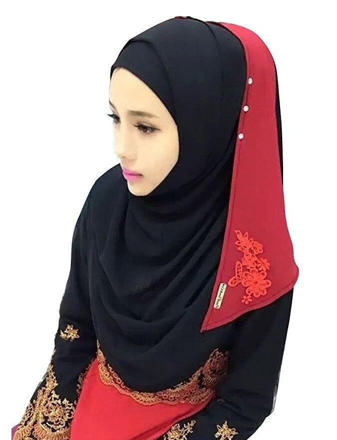 Хлопковый хиджаб шарф, кружевной вышитый сшивание дизайн женский хиджаб платок на голову длинные шали обертывания Джерси мусульманский шарф - Цвет: Color 6