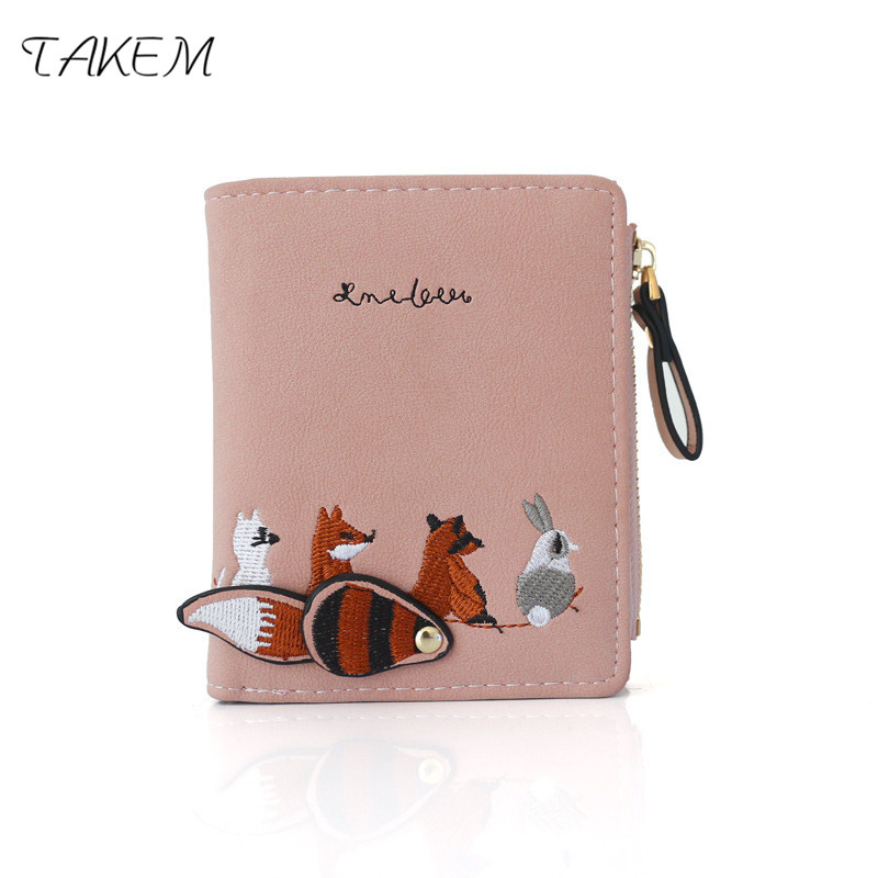 TAKEM Womens Embroidered Baby Animal Wallet, Short Wallet Coin Purse Bag, Simple College Style Cute Small Wallet, PU Material