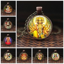 India Religion Necklace God Brahma Lord Shiva Vishnu Glass Cabochon Pendant Statement Necklaces Religion Jewelry for Women(China)