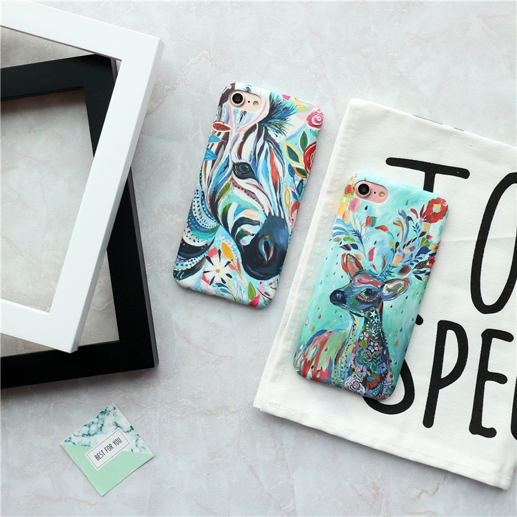 luxury Art Oil Painting Deer&Zebra Phone case For iphone 6 6s 7 8 case For iphone 7 7 puls 8 8 puls cases PC Hard Frosted cover