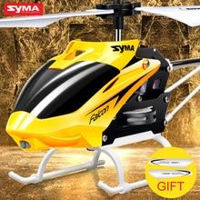 Официальный оригинал syma w25 2 ch 2 канала мини rc вертолет дрон с гироскопом устойчивая аварии rc toys дети мальчик подарок красный желтый
