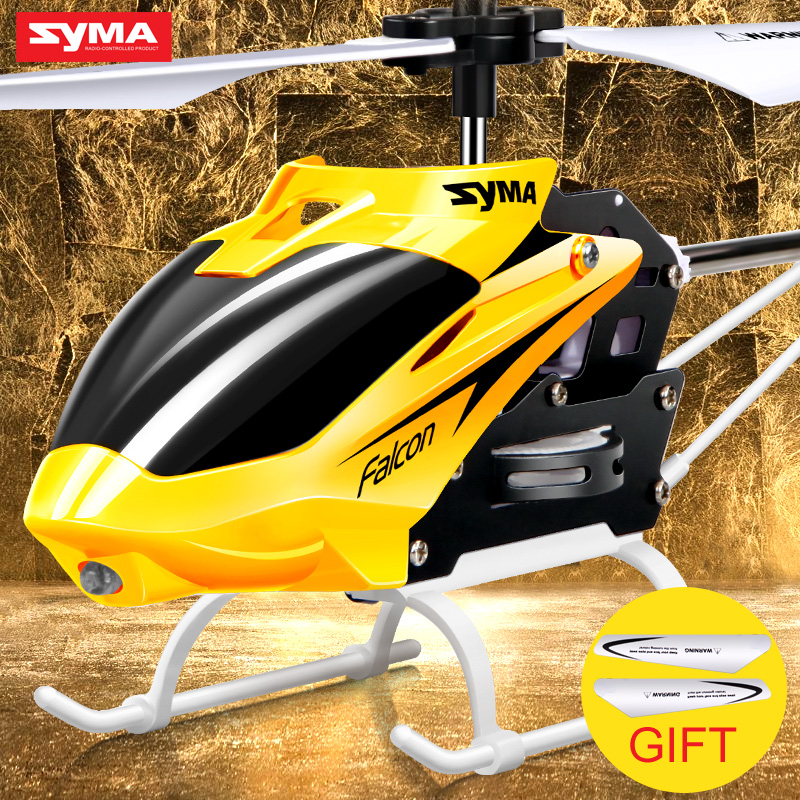 Official Original Syma W25 RC Helicopter 2 CH 2 Channel Mini RC Drone With Gyro Crash Resistant RC Toys Kids Boy Gift Red Yellow