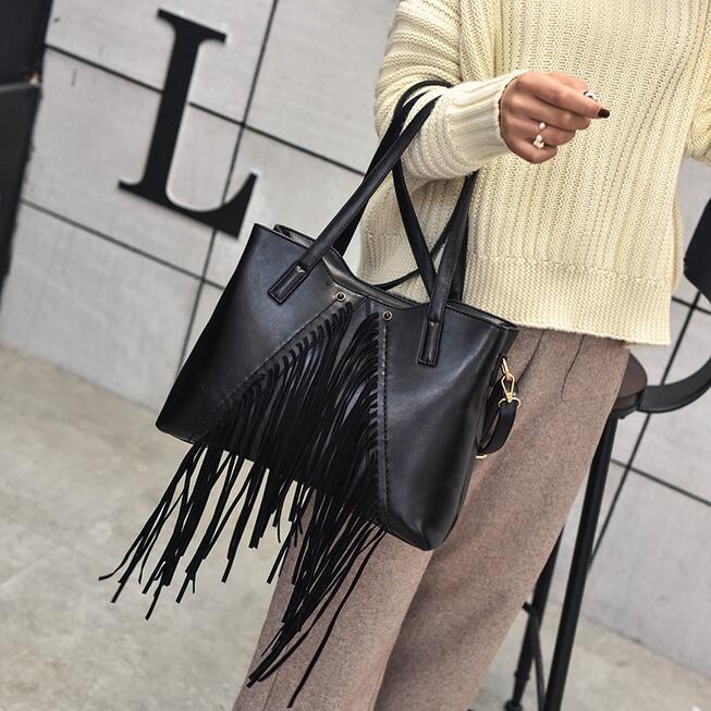 Bolsos de Moda de invierno de Calidad de cuero de LA PU Mujeres del bolso Retro