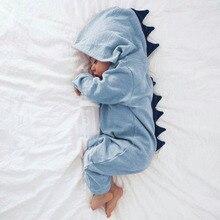 Одежда для новорожденных для маленьких девочек лидер продаж; Новинка Мужская характер Однобортный полный с капюшоном Осенняя модная шапка комбинезон