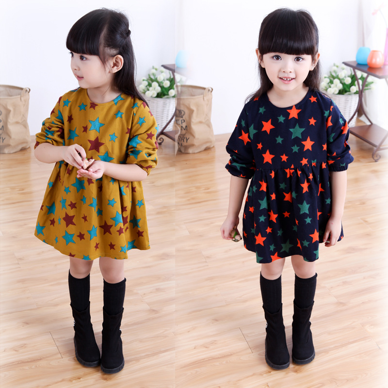 NEW girls clothing baby girls dress long sleeve cotton princess caual dress kids outwear clothes children brand print star dress little maven children clothing 2017 new summer baby girls brand clothes kids cotton dot pocket dress s0135