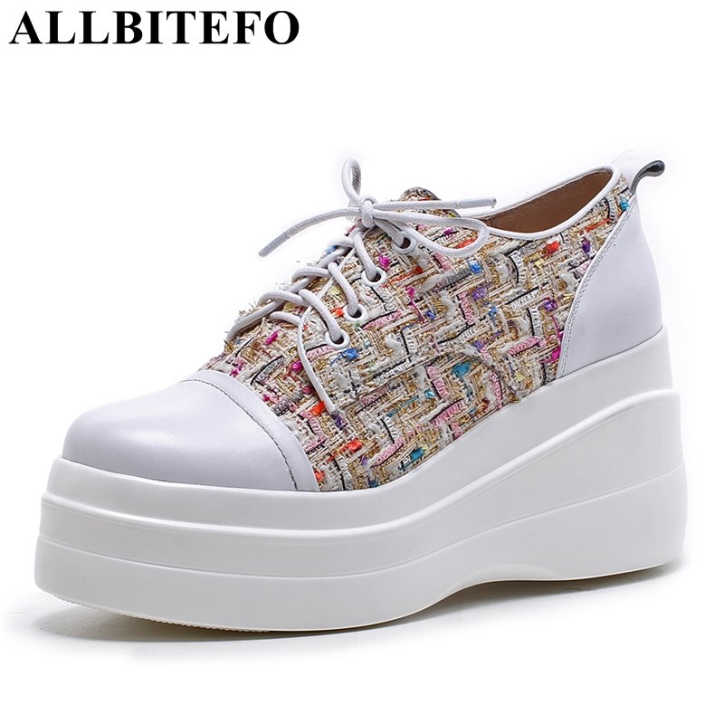 ALLBITEFO 2018 spring genuine leather+Cloth high heels platform women shoes mixed colors high heel shoes girls shoes women pumps