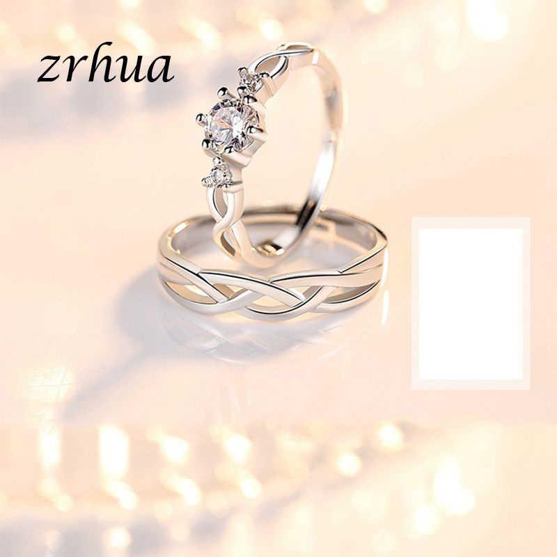 ZRHUA 925 כסף קשת אופל טבעת אופנה CZ חתונה תכשיטי חקוק 925 גברים נשים אירוסין מבטיחים טבעות זוג Anillos