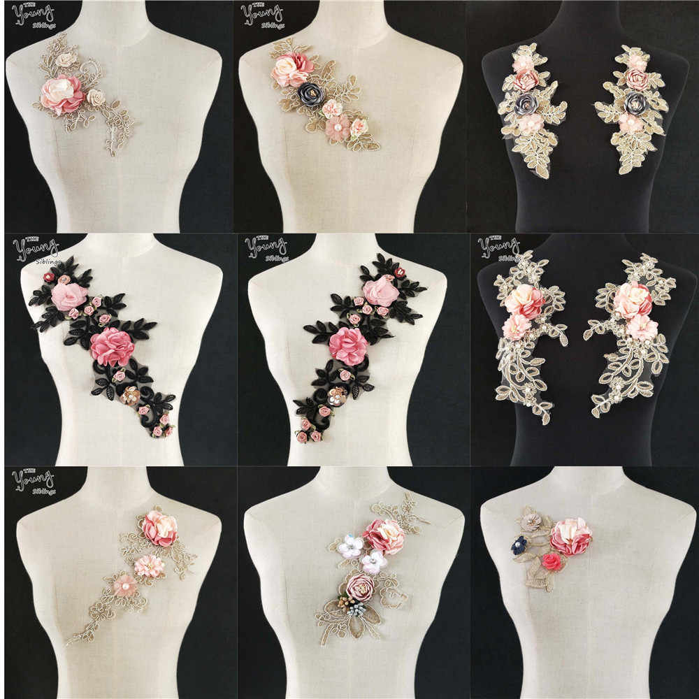 Hot sale Lace Collar Fabric Trim DIY Embroidery Lace Fabric Neckline Applique Sewing Craft trim Bridal Wedding dress Accessories