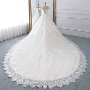 Image 3 - Fansmile Luxury Lace Long Train Ball Gown Wedding Dress 2020 Vestidos de Novia Princess Quality Wedding Bride Dress FSM 527T