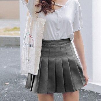 Pink Pleated Satin Skirt summer High Waist   3