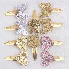 Новинка года; модные золотистые заколки для волос с бабочками и сердечками; детская клипса; 1 шт