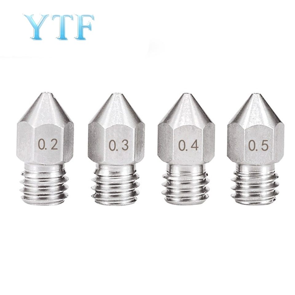 MK8 V5 V6 Stainless Steel Nozzle 0.2mm 0.3mm 0.4mm 0.5mm 0.6mm 0.8mm M6 1.75mm Threaded Part 3D Printer Part