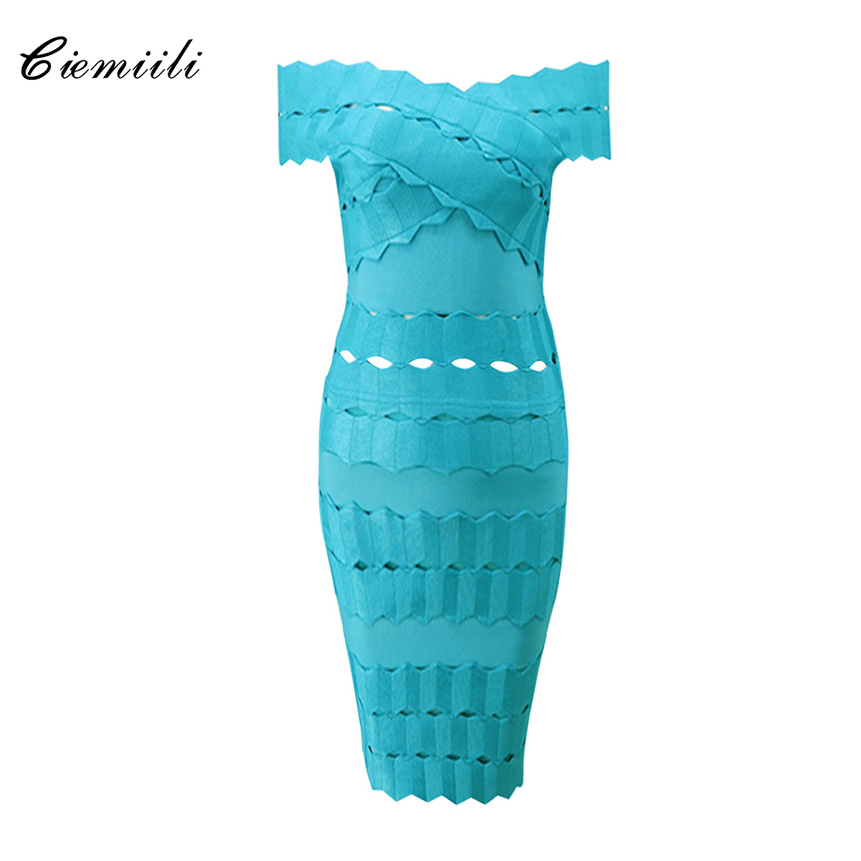 CIEMIILI Elegant Ruffles Off Shoulder Hollow Out Short Sleeves Above Knee 2017 Women Fashion Celebrity New Bandage Bodycon Dress