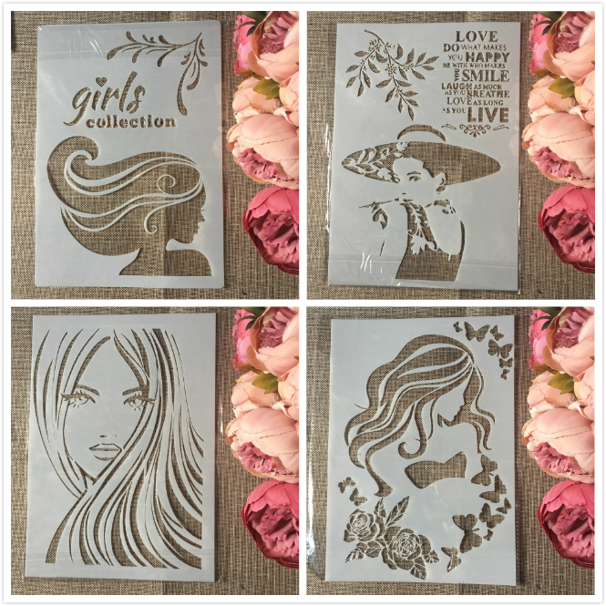 4Pcs/Set A4 Fashion Long Hair Girl DIY Layering Stencils Painting Scrapbook Coloring Embossing Album Decorative Template