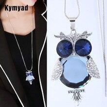 3df62dbef2a0 Kymyad moda collar largo azul piedra búho Collares y colgantes bijoux Femme  cristal traje joyería Collares para las mujeres