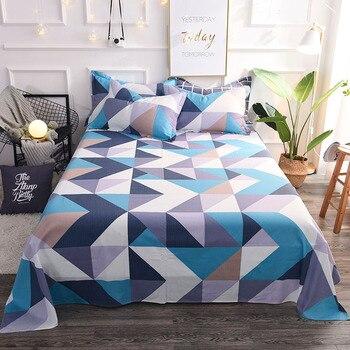 Модный синий серый прямоугольник узор 3 шт хлопок наволочка набор постельного белья застежки для простыни покрывало простыня черный белый ...