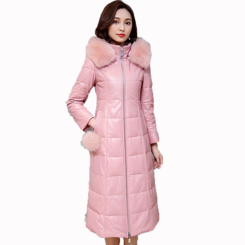 Veste en cuir véritable col en fourrure de renard manteau de fourrure véritable automne hiver veste femmes vêtements 2018 coréen rose peau de mouton manteau ZT1328
