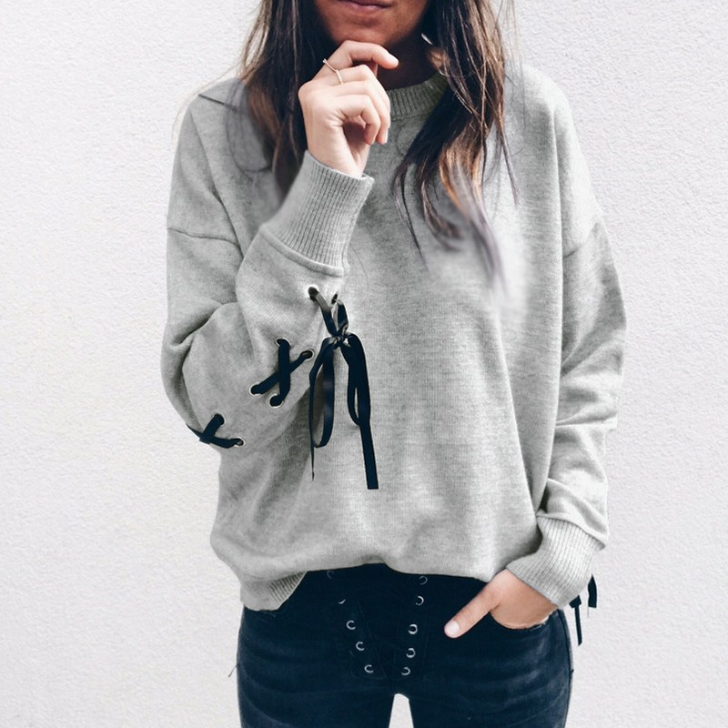 Fashion Women hoodies O Neck Long Sleeve Pullover Shirt Top Lace Up Bow Tie Blouse Office Ladies Casual Sweatshirt Jumper