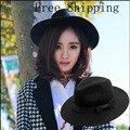 2016 Nuevo Estilo Suave de la Vendimia de Las Mujeres de Ala Ancha De Lana de Fieltro Bowler Hat Fedora Floppy Cloche Panamá sombrero para el Sol Sombrero de Las Mujeres Trilby